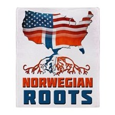 American Norwegian Roots Throw Blanket