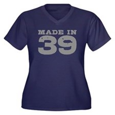 Made In 39 Women's Plus Size V-Neck Dark T-Shirt