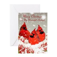 Husband, Oil Painted Red Cardinals Greeting Card