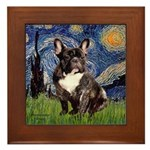 Starry-Brindle French Bulldog Framed Tile