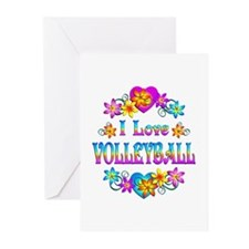 I Love Volleyball Greeting Cards (Pk of 20)