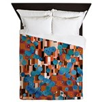 Klimtified! - Rust/Turquoise Queen Duvet