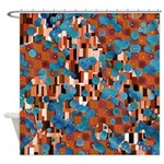Klimtified! - Rust/Turquoise Shower Curtain