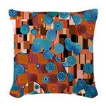 Klimtified! - Rust/Turquoise Woven Throw Pillow
