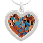 Klimtified! - Rust/Turquoise Silver Heart Necklace