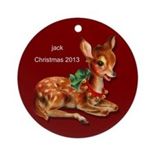 Personalized Retro Reindeer Ornament