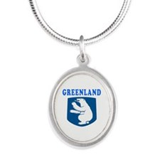 Greenland Coat Of Arms Designs Silver Oval Necklac