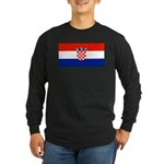 Croatia Blank Flag Long Sleeve Black T-Shirt