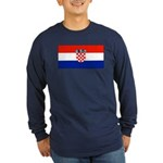Croatia Blank Flag Long Sleeve Blue T-Shirt