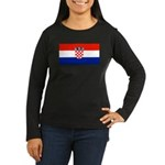 Croatia Flag Women's Long Sleeve Black T-Shirt