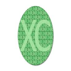 XC Run Run Green 20x12 Oval Wall Decal
