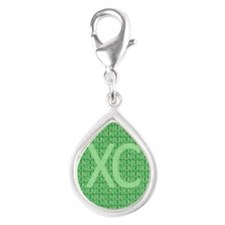 XC Run Run Green Silver Teardrop Charm
