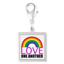 Love One Another Silver Square Charm