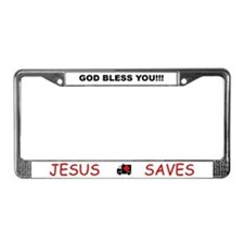 God Bless / Jesus Saves License Plate Frame
