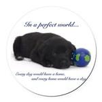 In A Perfect World (Lab) Round Car Magnet