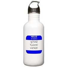 Custom Blue Name Tag Sports Water Bottle