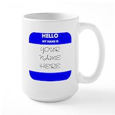 Custom Blue Name Tag Mug