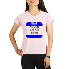 Custom Blue Name Tag Peformance Dry T-Shirt