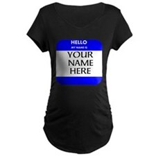 Custom Blue Name Tag Maternity T-Shirt