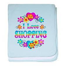 I Love Shopping baby blanket