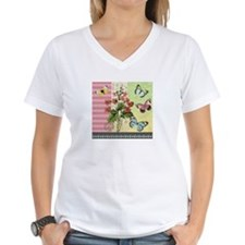 Modern Vintage French flowers and butterflies T-Sh
