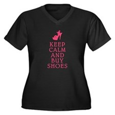 BUY SHOES Women's Plus Size V-Neck Dark T-Shirt