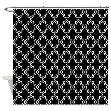 Black and white moroccan quatrefoil shower curtain by for Quatrefoil bathroom decor