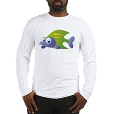 Green and Blue Cartoon Fish Long Sleeve T-Shirt