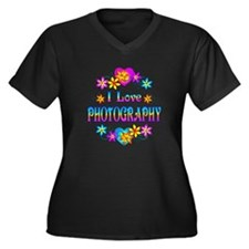 I Love Photography Women's Plus Size V-Neck Dark T