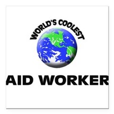 "World's Coolest Aid Worker Square Car Magnet 3"" x"