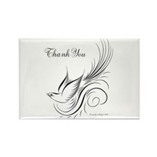 Calligraphy Bird Thank You Rectangle Magnet