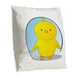 Whee! Chick v2.0 Burlap Throw Pillow