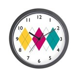 Bright Argyle Wall Clock