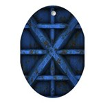 Rusty Shipping Container - blue Ornament (Oval)