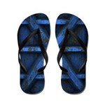 Rusty Shipping Container - blue Flip Flops