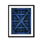 Rusty Shipping Container - blue Framed Panel Print