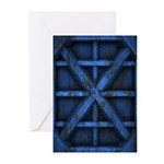 Rusty Shipping Container - blue Greeting Cards (Pk