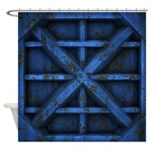 Rusty Shipping Container - blue Shower Curtain