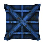 Rusty Shipping Container - blue Woven Throw Pillow