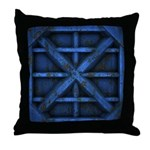 Rusty Shipping Container - blue Throw Pillow