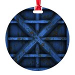 Rusty Shipping Container - blue Ornament