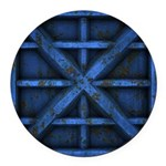 Rusty Shipping Container - blue Round Car Magnet