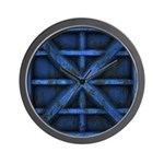 Rusty Shipping Container - blue Wall Clock