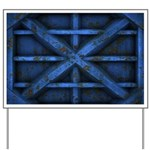 Rusty Shipping Container - blue Yard Sign