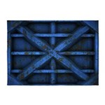 Rusty Shipping Container - blue 5'x7'Area Rug
