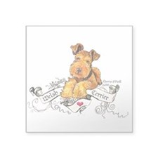 "Welsh Terrier World Square Sticker 3"" x 3"""