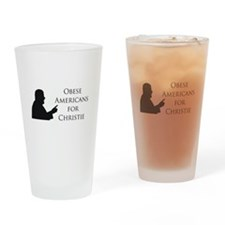 Obese Americans for Christie Drinking Glass