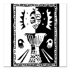 "Djembe mask black and white Square Car Magnet 3"" x"