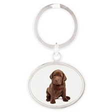 Chocolate Labrador Puppy Oval Keychain