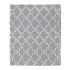Light Gray Moroccan Quatrefoil Throw Blanket